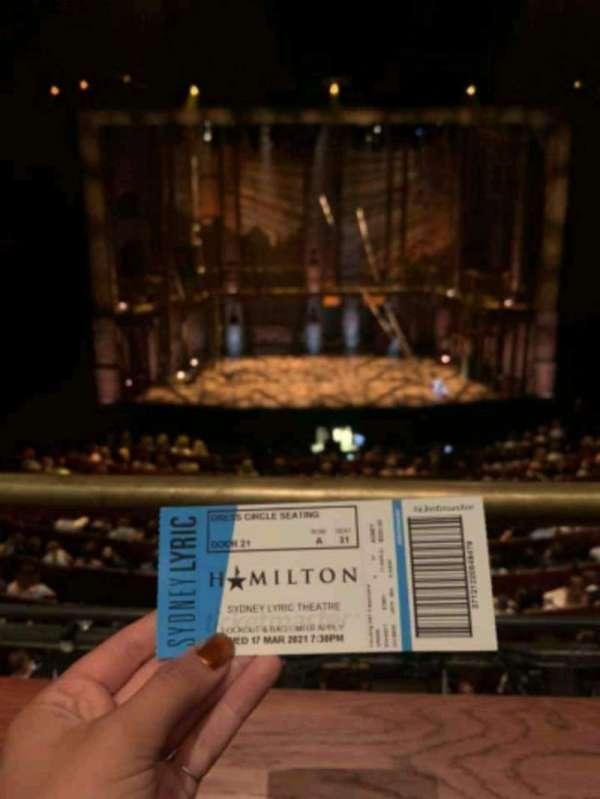 Sydney Lyric, sección: Dress Circle, fila: A, asiento: 31
