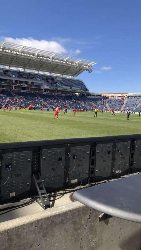 SeatGeek Stadium, sección: Fieldside, fila: 1, asiento: 8