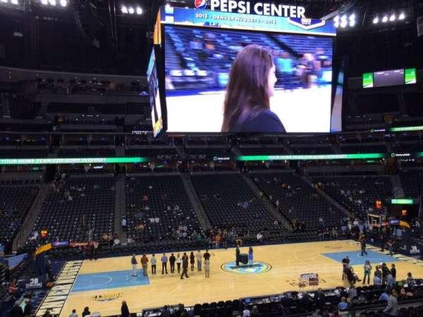 Pepsi Center, sección: 102, fila: 19, asiento: 18