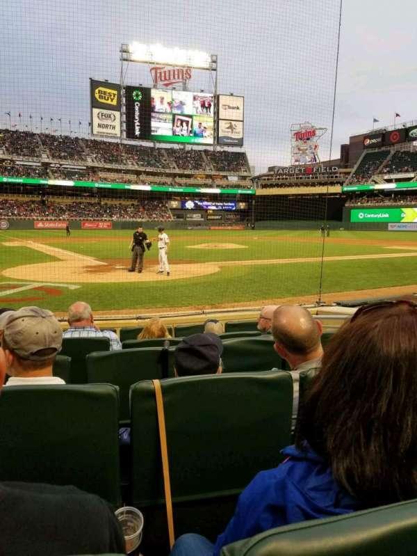 Target Field, sección: Champions Club 7, fila: F, asiento: 5