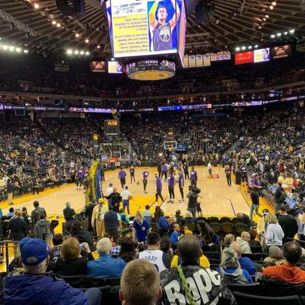 Oracle Arena, sección: 107, fila: 7, asiento: 10