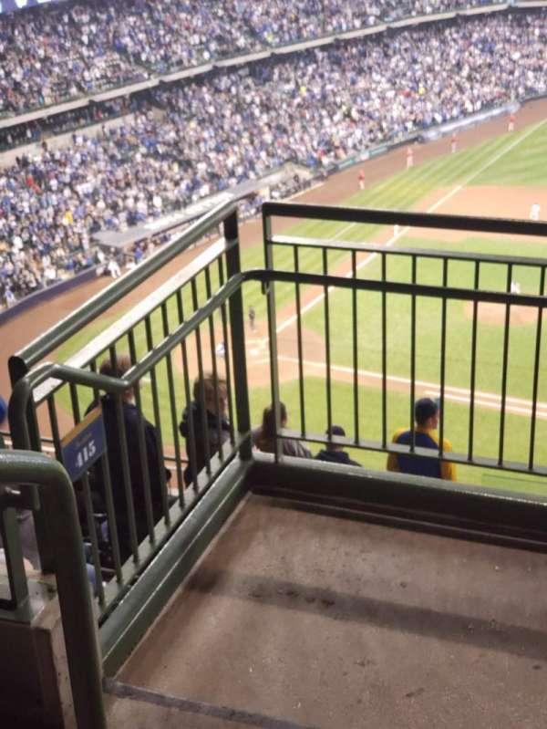 Miller Park, sección: 414, fila: 9, asiento: 1