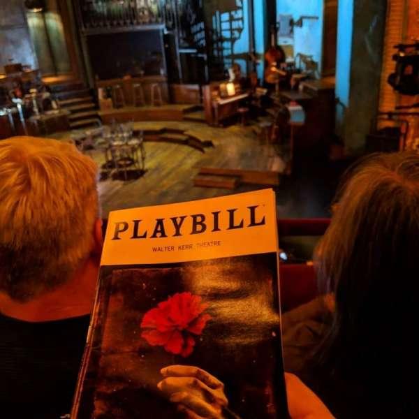 Walter Kerr Theatre, sección: Mezzanine, fila: BB, asiento: 10