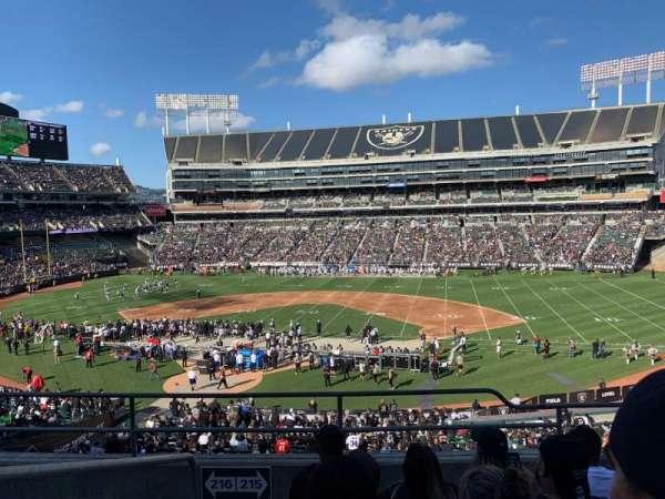 Oakland Coliseum, sección: 215, fila: 5, asiento: 20