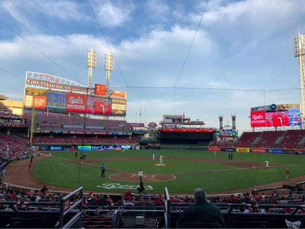 Great American Ball Park, sección: 124, fila: A, asiento: 7