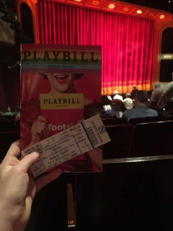 Marquis Theatre, sección: Orchestra L, fila: Q, asiento: 13