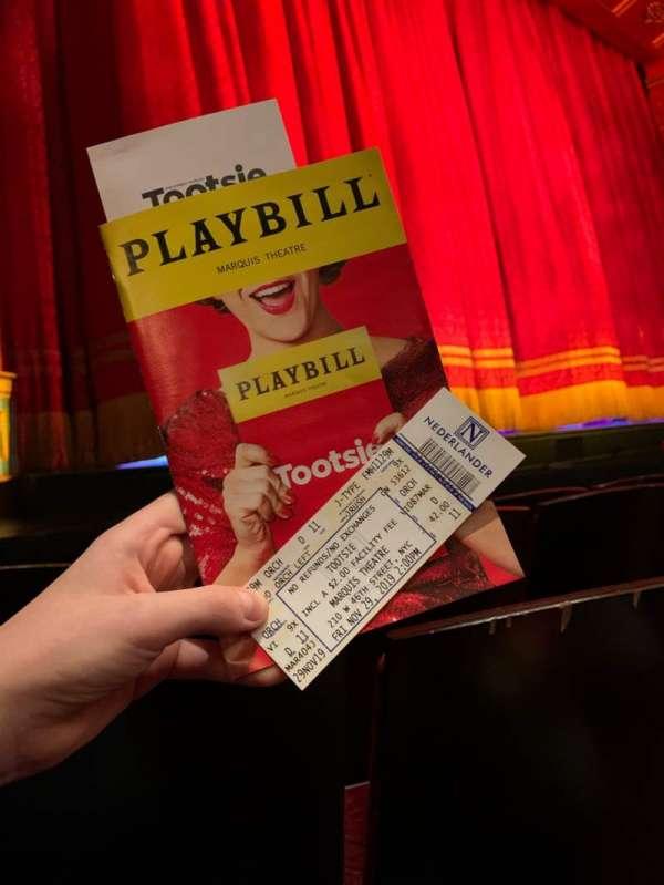 Marquis Theatre, sección: Orchestra L, fila: D, asiento: 11