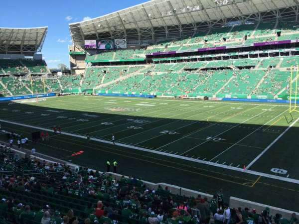 Mosaic Stadium, sección: 110, fila: 19, asiento: 1
