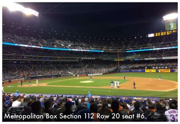 Citi Field, sección: 112, fila: 20, asiento: 6