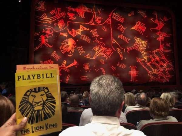 Minskoff Theatre, sección: Orchestra C, fila: M, asiento: 106