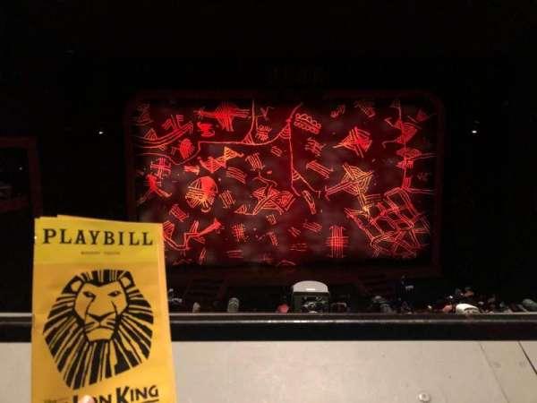 Minskoff Theatre, sección: Mezzanine, fila: A, asiento: 120