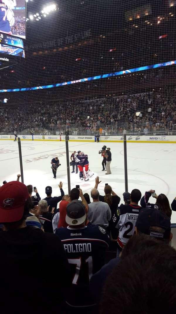 Nationwide Arena, sección: 101, fila: H, asiento: 8