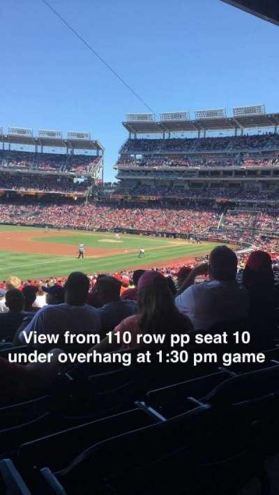 Nationals Park, sección: 110, fila: PP, asiento: 10
