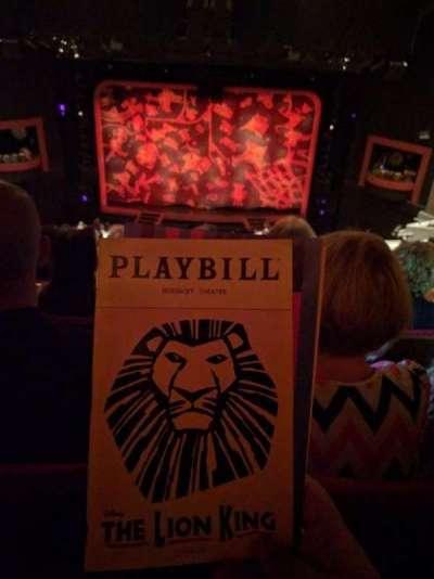 Minskoff Theatre, sección: MEZZ, fila: L, asiento: 129
