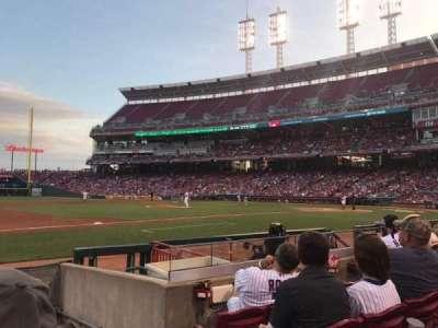 Great American Ball Park, sección: 114, fila: I, asiento: 1