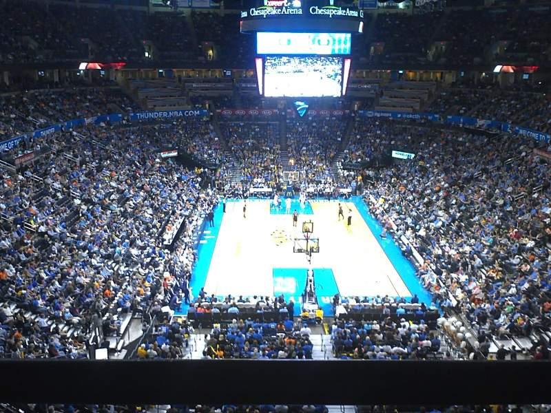 Vistas desde el asiento para Chesapeake Energy Arena Sección 316 Fila A Asiento 3-4
